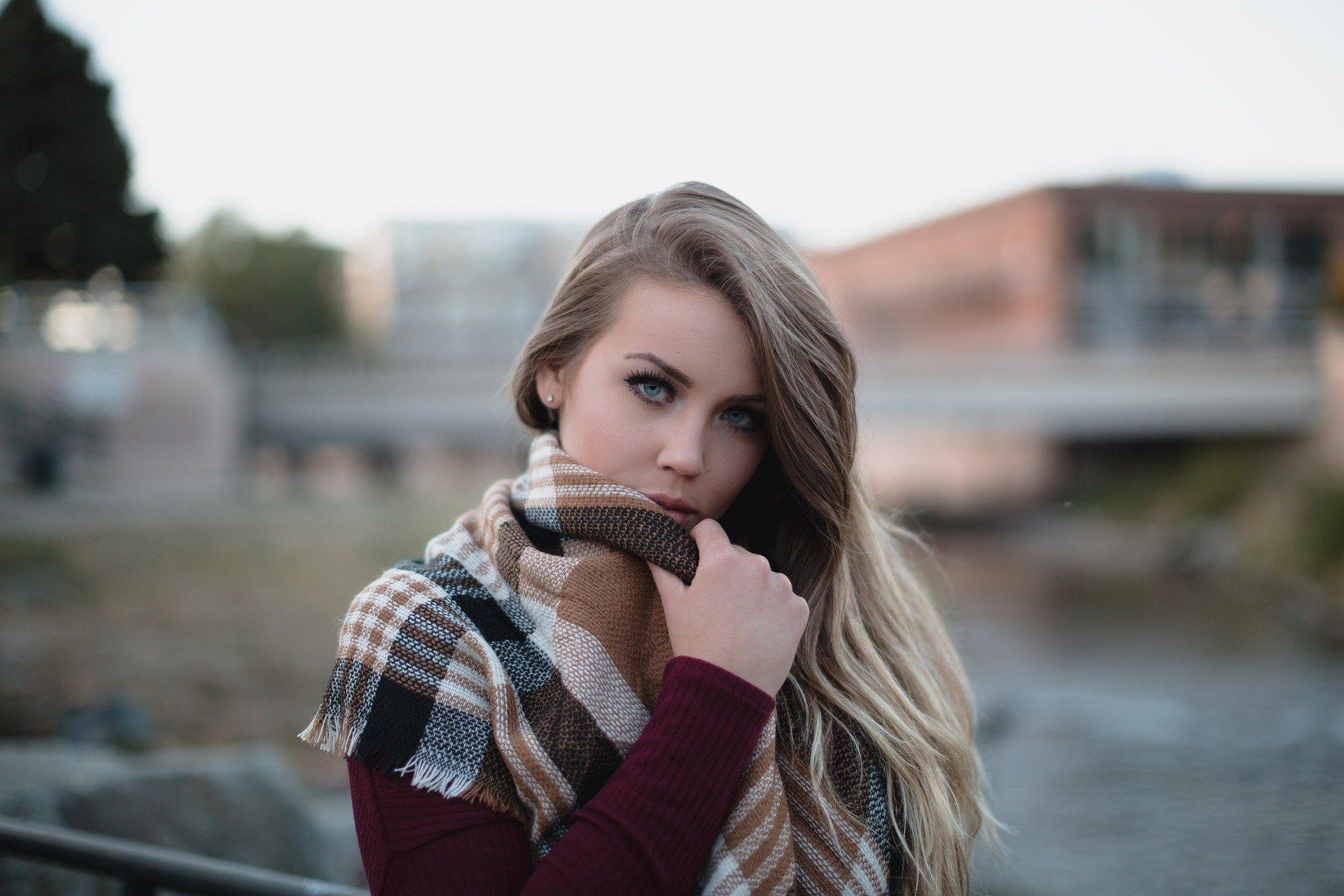 Blonde Woman Model Cold Fashion Female Girl