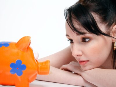 Piggy Bank Saving Money Young Woman Finance